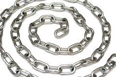Circular silver metal chain Royalty Free Stock Image