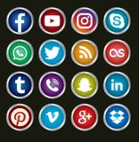 Circular Social Media icons. A set of 16 popular social media icons in metalic circular shapes for use in print and web projects. Icons include Pinterest stock illustration