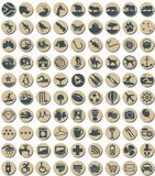 Circular South African Themed Icons. Circular, beige and blue tourism button icons with a South African theme. Tourist destinations, activities, things to do and vector illustration