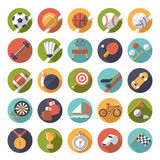 Circular sports icons flat design vector set. Collection of 25 flat design sports and gymnastics vector icons in circles Stock Photos