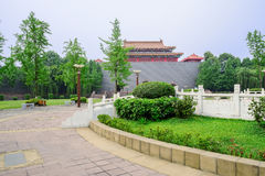 Circular square before Chinese old-fashioned castle in sunny sum Royalty Free Stock Images