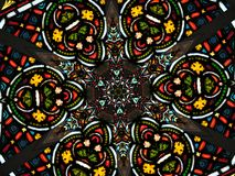 Circular stained glass pattern stock photo