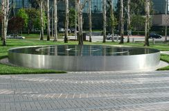 Circular Stainless Steel Reflecting Water Pool Royalty Free Stock Images