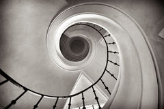 Circular staircase. In cistercian monastery, Sedlec in Kutna Hora, black and white Royalty Free Stock Photography