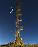 Circular Staircase rises into twilight sky Royalty Free Stock Image