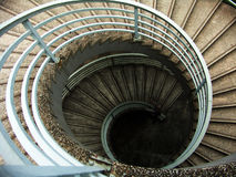 Circular stairs. Circular cement stairs going downwards Stock Photo