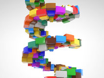 Circular Stairway made out of colorful pieces. Circular Stairway made out of many colorful pieces Royalty Free Stock Photos