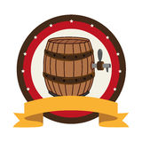 Circular stamp with beer barrel and label Royalty Free Stock Image
