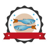 Circular stamp with fish animal marine design and label. Vector illustration Stock Images