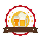 Circular stamp with foamy beer jar and glass cup Stock Image