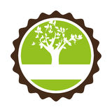 Circular stamp with leafy tree plant Royalty Free Stock Photos
