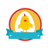 Circular stamp with silhouette chicken animal and ribbon Royalty Free Stock Photos