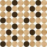 Circular striped pebbles seamless background. Seamless pattern background with round striped pebbles. Light and dark brown tones. Curved stripes on the circles Stock Photo