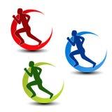 Circular symbol of fitness - runner silhouette Stock Image