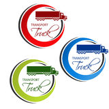 Circular symbol of transport with silhouette of truck, lorry. Red, blue and green design. Royalty Free Stock Image