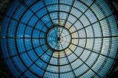 Circular symmetry of the glass dome in Milan stock images