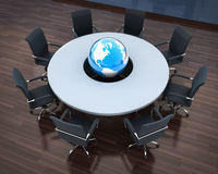 Circular table and abstract earth Royalty Free Stock Image