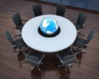 Circular table and abstract earth Royalty Free Stock Image
