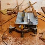 Circular table saw carpenter tool and sawdust Royalty Free Stock Photos
