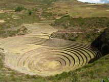 Circular Terraces. Built by Inca  in Sacred Valley of Peru Stock Photography