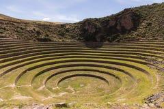 Circular terraces peru inside view Stock Photo