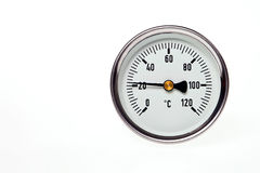 A circular thermometer. A circular thermometer isolated on a white background Stock Image