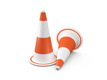 Circular Traffic Cones. Orange highway traffic cones with white stripes, isolated on white background Stock Images