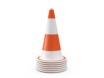 Circular Traffic Cones. Orange highway traffic cones with white stripes, isolated on white background Royalty Free Stock Images