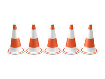 Circular Traffic Cones. Orange highway traffic cones with white stripes in a row, isolated on white background Royalty Free Stock Image