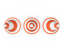 Circular Traffic Cones. Orange highway traffic cones with white stripes in a row, isolated on white background Stock Image