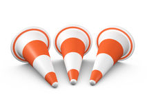 Circular Traffic Cones. Orange highway traffic cones with white stripes in a row, isolated on white background Stock Photos