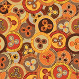 Circular, tribal pattern in earth tones with motifs of African tribes Surma and Mursi Stock Photos