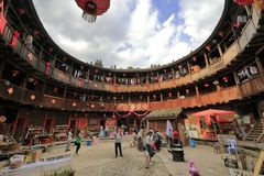Circular tulou in nanjing county, adobe rgb Royalty Free Stock Photo