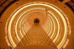Circular tunnel ceiling in architecture structure of contemporary hotel. Luxury interior design background.  stock photo