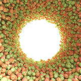 Circular tunnel of green and red apples Stock Photography