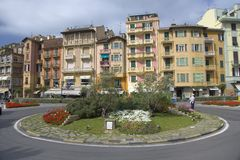 Circular turn-around with colorful buildings of Santa Margarita, the Italian Riviera, on the Mediterranean Sea, Italy, Europe Royalty Free Stock Photography