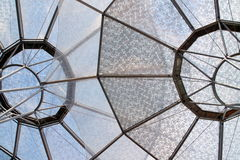 Circular umbrella structures. Two alien looking umbrella structures that is a cover to stop the rain and shelter people from the sun. Location is in Clarke Quay Royalty Free Stock Photo