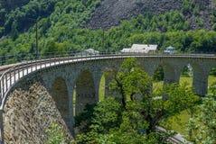 Circular viaduct bridge near Brusio on the Swiss Alps - 6 Royalty Free Stock Image