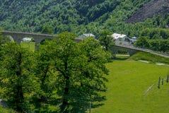 Circular viaduct bridge near Brusio on the Swiss Alps - 7 Royalty Free Stock Photos