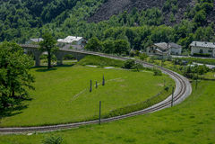 Circular viaduct bridge near Brusio on the Swiss Alps - 8 Royalty Free Stock Images