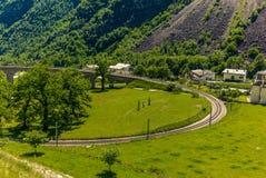 Circular viaduct bridge near Brusio on the Swiss Alps - 10 Stock Images