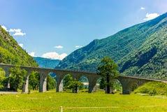 Circular viaduct bridge near Brusio on the Swiss Alps - 11 Royalty Free Stock Image