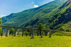 Circular viaduct bridge near Brusio on the Swiss Alps - 13 Royalty Free Stock Photography