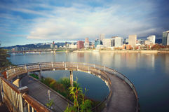 Circular walkway and cityscape. Circular walkway and portland cityscape Stock Images