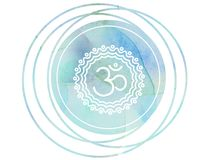 Circular watercolor mandala meditation Symbol Om lotus. Meditation prayer lotus watercolor mandala Om Stock Photo