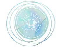 Circular Watercolor mandala meditation Symbol Om lotus. Meditation prayer lotus Watercolor mandala Om Stock Photography