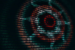 Circular waves on abstract digital wall in cyberspace, binary technology background Royalty Free Stock Photo