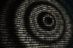 Circular waves on abstract digital wall in cyberspace, binary technology background Stock Photo
