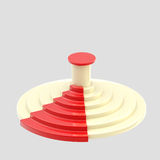 Circular white podium with a red carpet isolated Royalty Free Stock Images