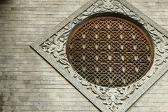 Circular window ,chinese temple. Detail of circular window in chinese traditional temple royalty free stock photo